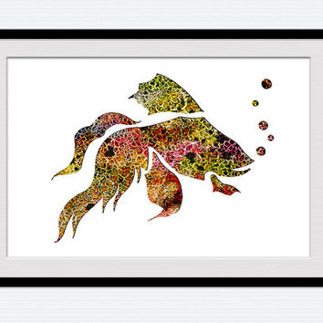 Gold fish poster, goldfish print, watercolor art, gold fish wall art, watercolor poster, printable art, nursery decor, watercolor print, W11