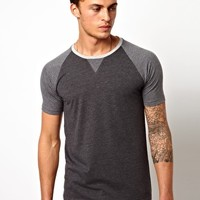 ASOS T-Shirt With Contrast Raglan Sleeves And Necktrim at asos.com