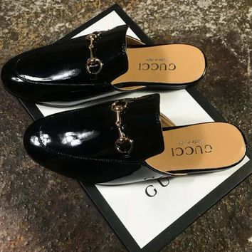 GUCCI counter tide brand fashion women exquisite high quality slippers F-CSXY black