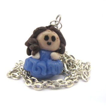 Polymer clay Charm necklace kawaii chibi girl clay by Mandyscharms