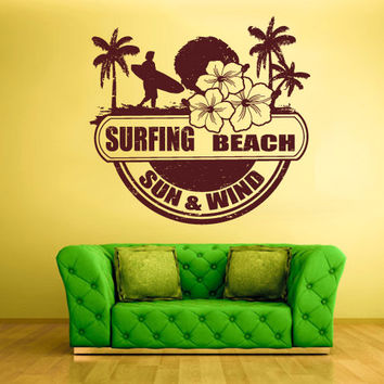rvz1406 Wall Decal Vinyl Sticker Poster Sun Beach Palm Waves Surfing