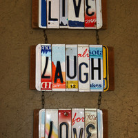Recycled. Love. License Plate. Room Decor. Sign. Wall hanging.Custom Name. Handmade.Family name. door hanging.