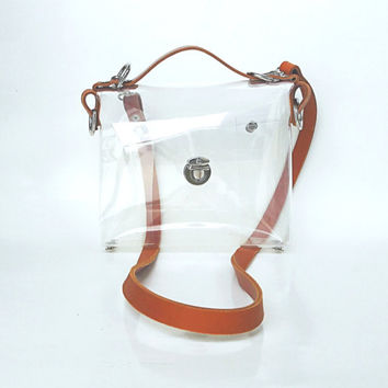 Crossbody bag Clear See Through Plastic PVC Vinyl Transparent Bag,Crossbody Bag,Messenger Bag,Shoulder Bag TSA NFL geniue leather strap ooak