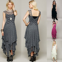 Women Sheer Lace Party Casual Prom Evening Cocktail Slim Long Vintage Lace Dress girls dress  SV004225