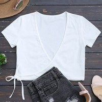 Cotton Wrap Cropped Top