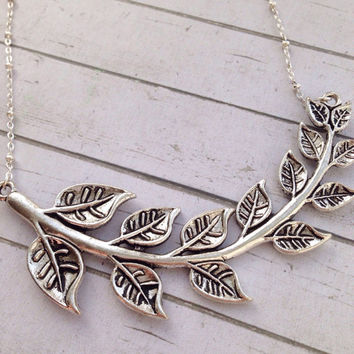 Silver Branch Necklace. Branch Pendant Leaf Necklace. Nature Lover Gift