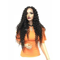 Brown wavy curly lace front wig - McQueen