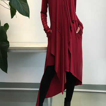 Music Flows - Burgundy Extravegant Tunic dress / Thumbhole maxi Blouse / Long Sleeve dress Asymmetric Kaftan / Asymmetric Maxi dress (Q1712)