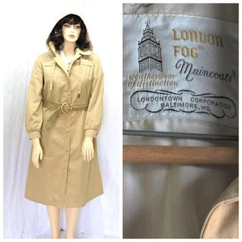 London Fog trench coat / size L /  vintage 80s hooded tan / khaki trench / rain coat /  size 14 / 1980s womens trench coat