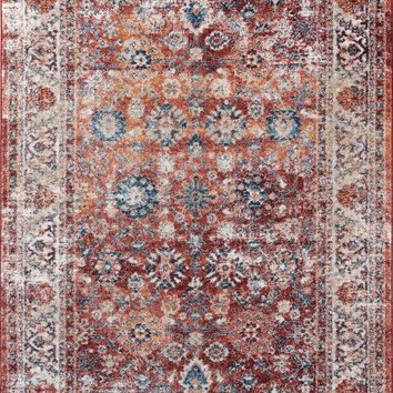 2218 Rust Persian Distressed Oriental Area Rugs