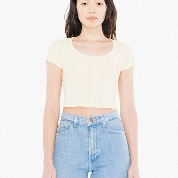 2x1 Rib Button Crop Top | American Apparel