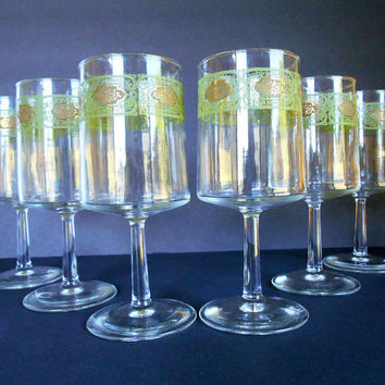 Mid Century Stemmed Glasses, Retro, Set of 6, 60s/70s Barware, Vintage Avocado Green and Gold Design