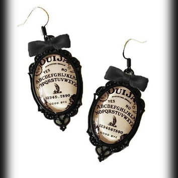 Ouija Board Earrings, Gothic Occult, Antique Ouija Board, Glass Cameo Earrings, Wicca Witch Seance, Alternative Jewelry, Gothic Jewelry Gift