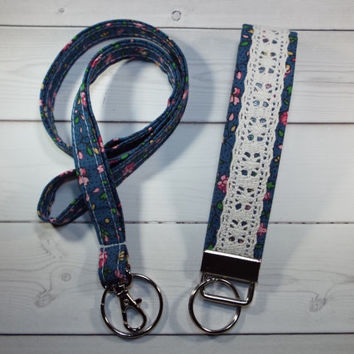 Skinny floral Lanyard id Badge Holder and lace keychain key fob blue  - Lobster clasp and key ring Thinner Design - vintage inspired floral