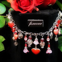Valentines Bracelet Red Enameled Hearts, Vintage Style Acrylic Flowers/ Silver plate Heart Charrms,Red Crystals, Elegant  Handmade