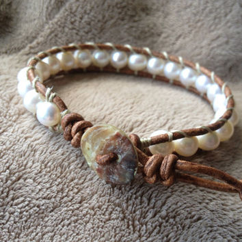 White Freshwater Pearl Leather Wrap Bracelet Ships by DESIGNbyANCE