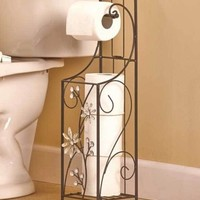Jeweled Flower Toilet Paper Holder W/ Dispenser Bathroom Storage Organizer Decor