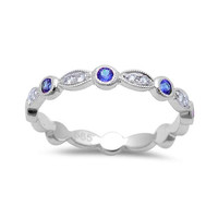 0.32tcw Blue Sapphires & Diamonds in 14K White Gold Stackable Band Ring