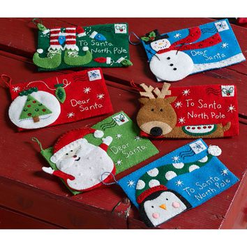 "Letters To Santa Bucilla Felt Envelopes Applique Kit 4""X6"" Set Of 6"