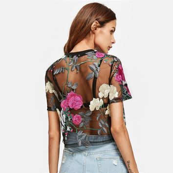 Flower Embroidered Mesh Blouse