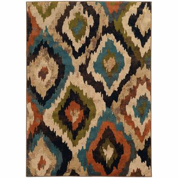 Emerson Blue Brown Abstract Ikat Contemporary Rug