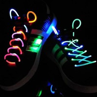 Led Light Up Flashing Glowing Shoelaces - Multi-Color LED Shoe Laces flash Lighting the Night For party Hip-hop Dancing