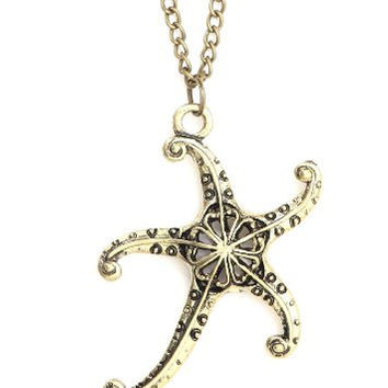Starfish Necklace Aquatic Sea Star Coral Reef Gold Tone NJ29 Ocean Mermaid Pendant Fashion Jewelry