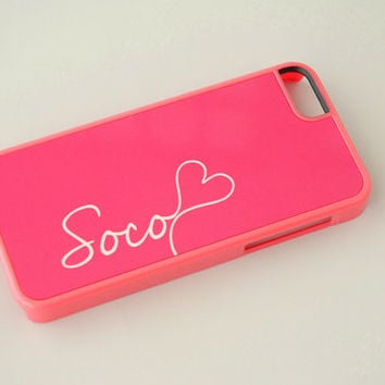 Personalized iPhone 5c Case, iPhone 5s Case, iPhone 6 Case, Coral Pink, Monogram Phone Case, Monogrammed Gifts