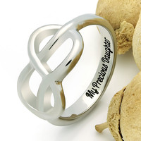 """Infinity Ring For Daughter, Double Infinity Ring, Purity Ring """"My Precious Daughter"""" Engraved on Inside Best Gift for Mother Daughter Forever"""