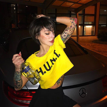 2017 Trending Fashion Summer Women Floral Printed Sexy Floral Printed Short Sleeve Alphabets Words Erotic Top T-Shirt _ 13423