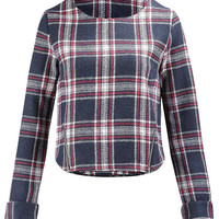 Multicolor Long Sleeve Check Top