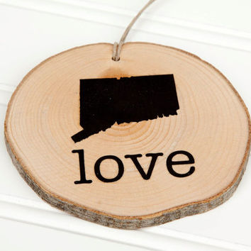 Connecticut Love state shape Maple wood slice ornaments - Set of 4.  Wedding favor, Bridal Shower, Country Chic, Rustic, Valentine Gift