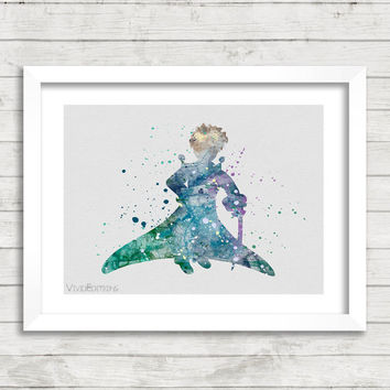 The Little Prince Watercolor Art Poster Print, Baby Nursery Art, Kids Decor, Minimalist Home Decor Not Framed, Buy 2 Get 1 Free! [No. 04]