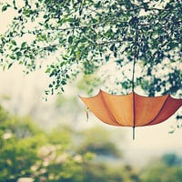 "Orange Umbrella - Whimsical - Dreamy - Home Decor  - Shabby Cottage Decor - Baby Nursery - Fine Art Photograph - ""Orange Umbrella"""