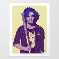 GAME OF THRONES 80/90s ERA CHARACTERS - Jon Snow Art Print by Mike Wrobel