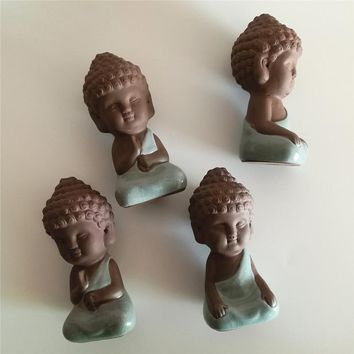 small buddha statue monk figurine tathagata India Yoga Mandala purple ceramic crafts Zakka decorative ceramic ornaments  tea pet