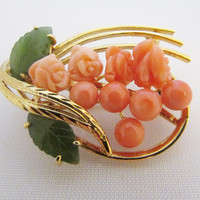 Coral Jade Pin Carved Coral Flowers Jade Leaves Vintage Brooch Fashion Jewelry Gifts for Her