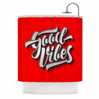 "Roberlan ""Good Vibes 2016 "" Red Typography Shower Curtain"
