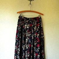 Floral Skirt  boho gypsy black red flowers garden party elastic waist vintage 80s 90s women extra large plus size clothing