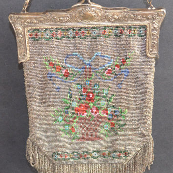 Antique Micro Bead Purse Floral Basket with Silver Frame