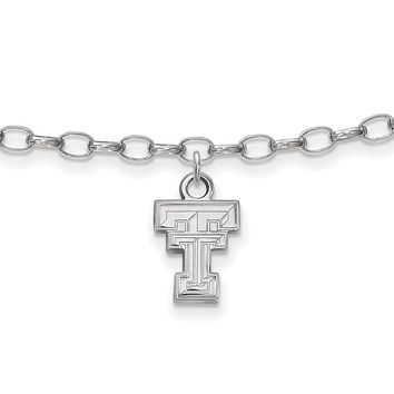 NCAA Sterling Silver Texas Tech University Anklet, 9 Inch