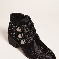 Coolway Stud Velvet Ankle Boots