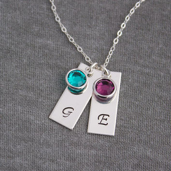 Sterling Silver Initial Birthstone Necklace- Personalized