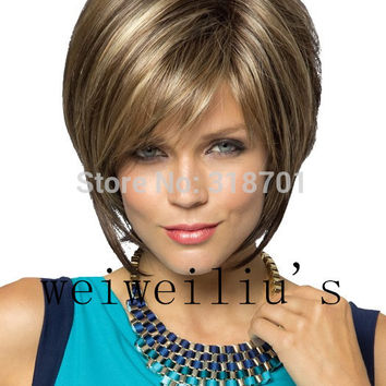 New Stylish Synthetic wigs Pixie cut wig Short Straight hair Brown with blonde Highlights wig for women Glamorous Fashion