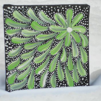 Australian Aboriginal Inspired Painting Green by Acires on Etsy