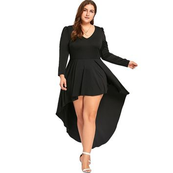 Plus Size V Neck Cocktail Dress