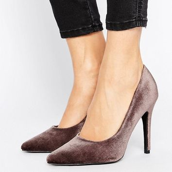 New Look Velvet Pointed Court Shoe at asos.com