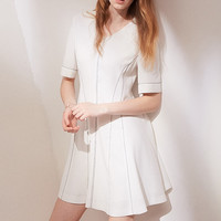 Fit + Flare Short Sleeve Mini Dress