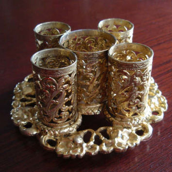 Ormolu StyleBuilt Lipstick Holder Caddy Gold Tone Makeup Cosmetics Vanity Accessory NY USA C445