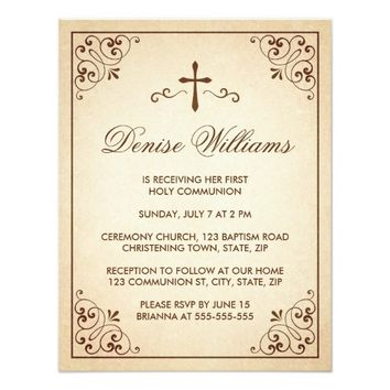 Elegant brown ornate frame first communion invite